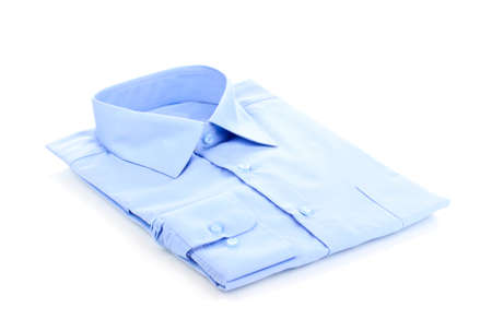 man's shirt: New blue mans shirt isolated on white