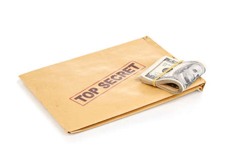 Dollar banknotes and top secret envelope isolated on white photo