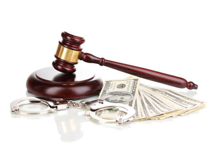 Dollar banknotes, handcuffs and judge's gavel isolated on white Stock Photo - 12330004