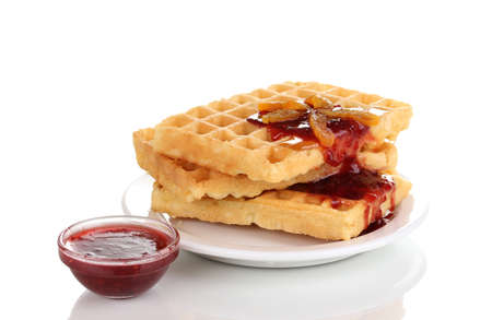 Tasty waffles with jam on plate isolated on white Stock Photo - 12329951