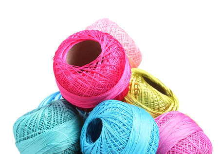 thread count: Bright threads for knitting isolated on white