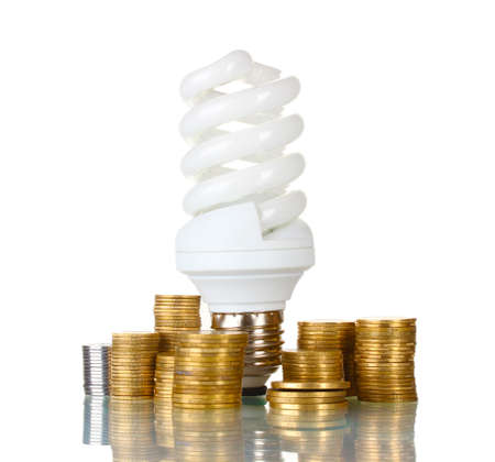 Energy saving lamp and money isolated on white photo