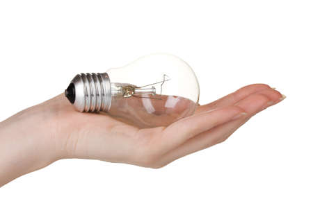 Arm holding light bulb isolated on white photo