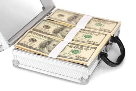 A lot of one hundred dollar bills in a case isolated on white photo