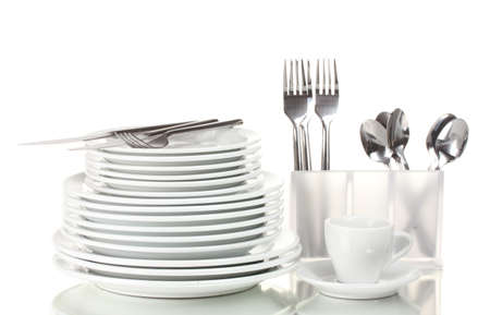Clean plates and cutlery isolated on white Stock Photo - 12435323