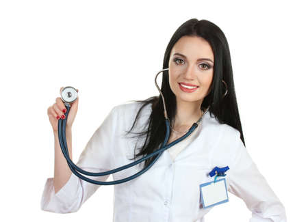 young beautiful doctor with stethoscope isolated on white  Stock Photo - 12565763
