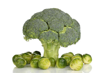 Fresh brussels sprouts and broccoli isolated on white Stock Photo - 12436433