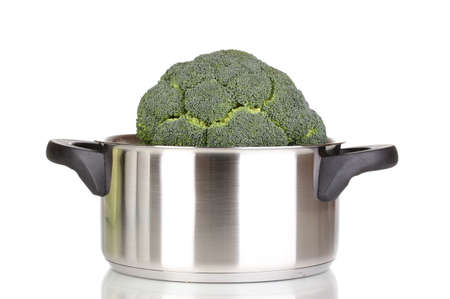 Fresh broccoli in saucepan isolated on white Stock Photo - 12436043