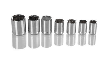 capping: Different nozzles isolated on white Stock Photo