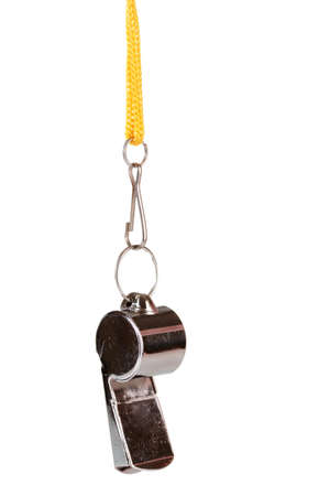 referee: sport metal whistle isolated on white