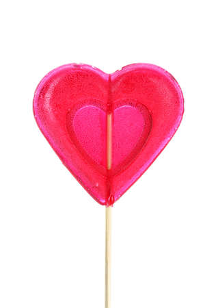 lolli: red heart-lollipop isolated on white