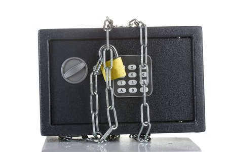 safe with chain and lock isolated on white  photo