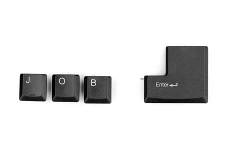 withe: Keyboard keys saying job enter isolated on white