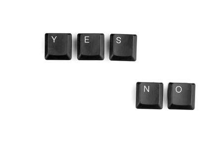 Keyboard keys saying yes no isolated on white photo