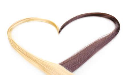 textura pelo: El pelo rubio y marr�n brillante aislado en blanco