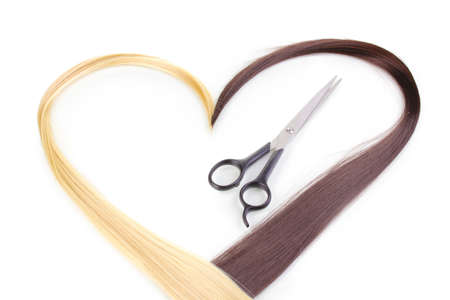 shears: Shiny blond and brown hair with hair cutting shears isolated on white Stock Photo