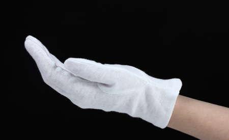 gant blanc: gant en tissu � port�e de main sur fond noir