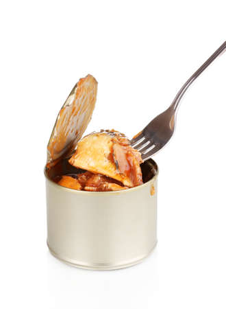 Open tin can with fork isolated on white Stock Photo - 12553050
