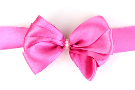 Pink satin bow and ribbon isolated on white Stock Photo - 12562575