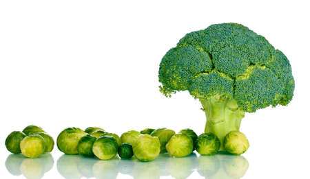 Fresh brussels sprouts and broccoli isolated on white