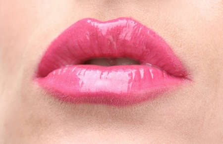 beautiful make up of glamour pink gloss lips Stock Photo - 12562594