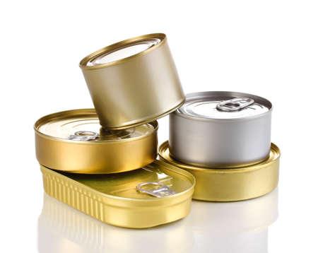 tin cans: Blikjes op wit wordt geïsoleerd Stockfoto