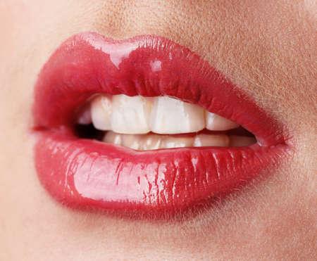 provocative: beautiful make up of gloss lips