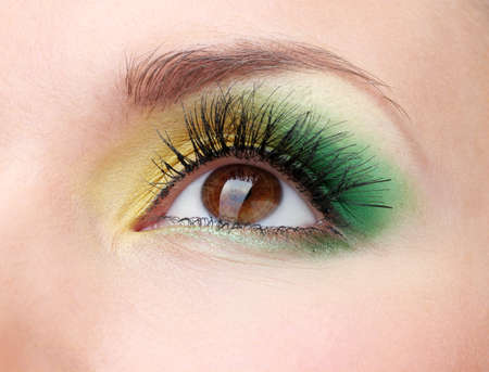 eyebrow  look: beautiful female eye with bright make-up