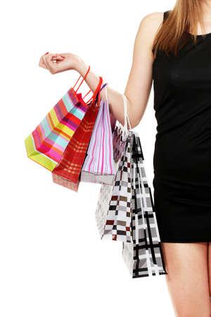 beautifu: beautifu woman with shopping bags isolated on white