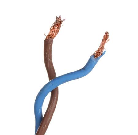 redes electricas: Cable el�ctrico blanco aislado en blanco Foto de archivo