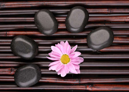 Spa stones and flower on bamboo mat Stock Photo - 12717573