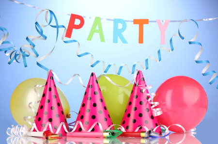 party balloons: Party items on blue background