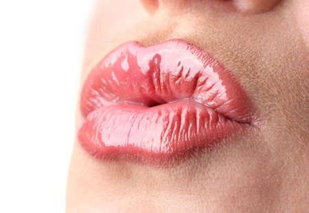 faire l amour: belle maquillage des l�vres brillantes Banque d'images