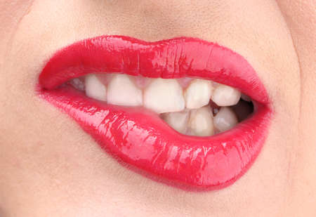 mouth close up: beautiful make up of glamour red gloss lips Stock Photo