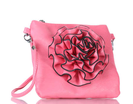 leather woman: beautiful pin leather woman bag isolated on white