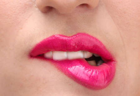 beautiful make up of glamour pink gloss lips Stock Photo - 12716312