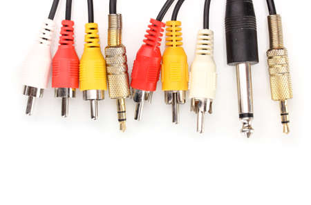 Audio and video jacks isolated on white photo
