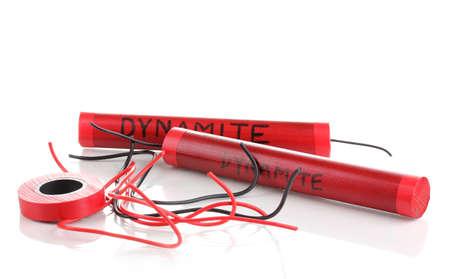 detonating: Making dynamite bomb isolated on white Stock Photo