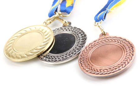 silver medal: Three medals isolated on white Stock Photo