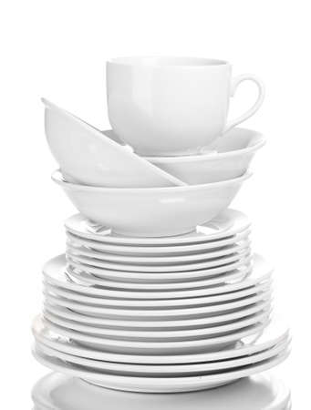 dinner plate: Clean plates and cups isolated on white