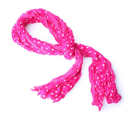 bright pink female scarf isolated on white photo
