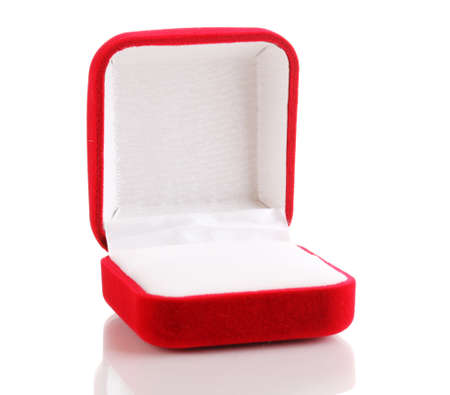 Red jewelry box isolated on white photo