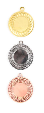 Three medals isolated on white Stock Photo - 12715960