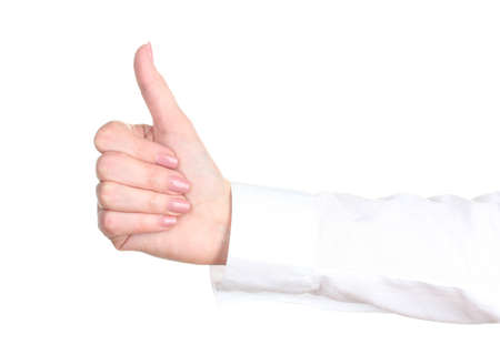 woman hand with thumb up ok signal isolated on white Stock Photo - 12716070