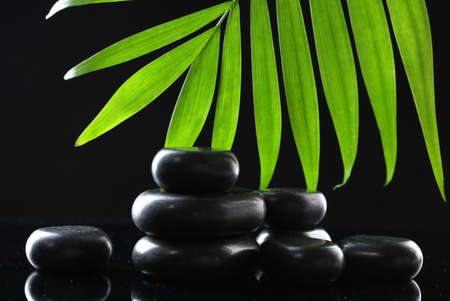 Spa stones and green palm leaf on black background Stock Photo - 12715796