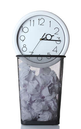 Wall Clock and paper in metal trash bin isolated on white Stock Photo - 12715800