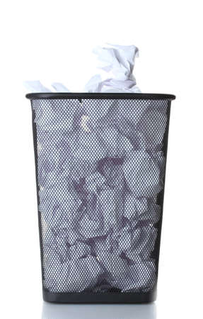 wastepaper: metal trash bin from paper isolated on white Stock Photo