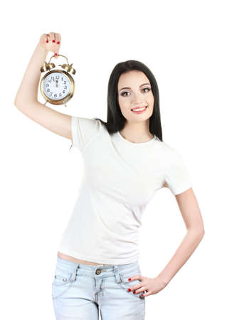 beautiful young girl holding alarm clock isolated on white photo