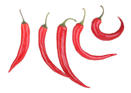 Red hot chili peppers isolated on white Stock Photo - 12799478