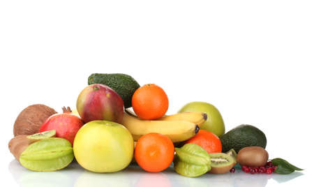 Assortment of exotic fruits isolated on white photo
